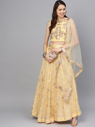 Chhabra 555 Made-to-Measure Pearl Embellished Crop Top blouse with Foil Print lehenga and dupatta