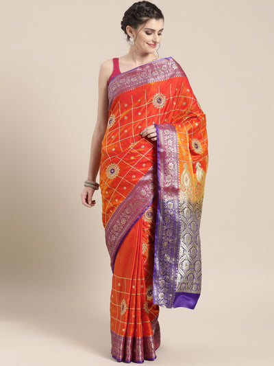 Chhabra 555 Gharchola silk saree with Meenakari weaving and Zari embroidery, Stone work