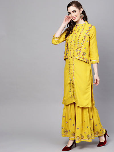 Chhabra 555 Yellow Cotton Kurta Set with attached Short Jacket and Embroidered Sharara