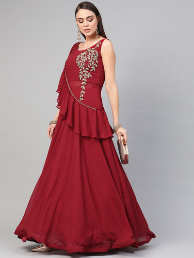 Chhabra 555 Made to Measure Georgette Cocktail Gown with Ruffled cape style dupatta and Floral hand embroidery