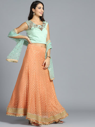 Chhabra 555 Made to Measure Orange Embellished georgette Lehanga With Sea Green heavy work Zarkon, Beads, Woven Design Choli and Embellished Dupatta