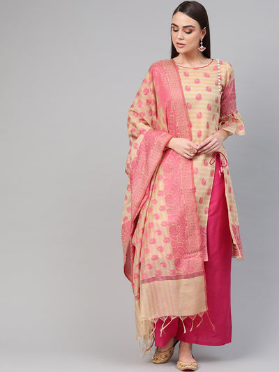 Chhabra 555 Made-to-Measure Angrakha Kurta Set with Resham Zari Weaving, Bell Sleeves and Banarasi Handloom dupatta