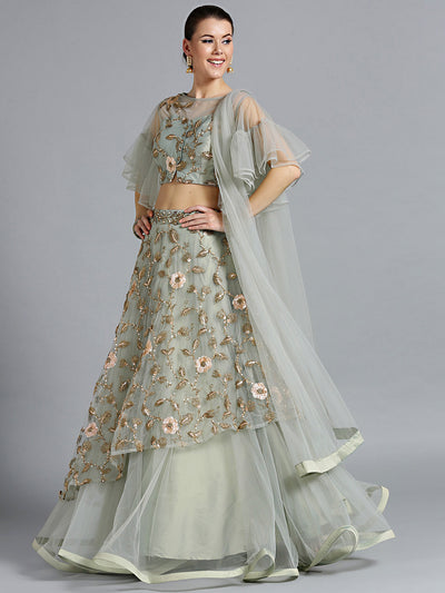 Chhabra 555 Blue-Grey Crop top Lehenga With Zari Sequin Embroidery in floral pattern & bell sleeves