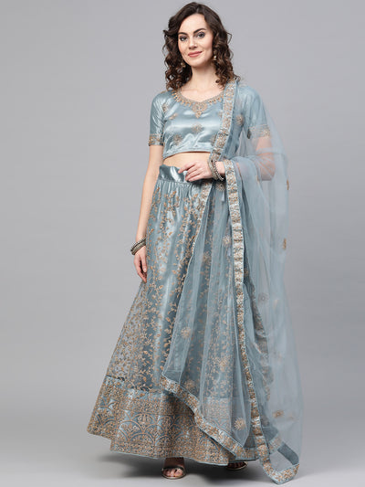 Chhabra 555 Grey Net Semi-stitched Lehenga Set with Jaal Gold Kasab Zari Work with Floral Motifs