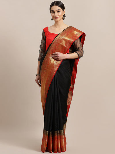 Chhabra 555 Kanjiwaram inspired Dupion Silk saree with Zari Weaving Contrast Border and Rich Pallu