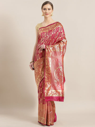 Chhabra 555 Kanjiwaram inspired French silk saree with Oxidised Zari Weaving in a Gharchola Pattern