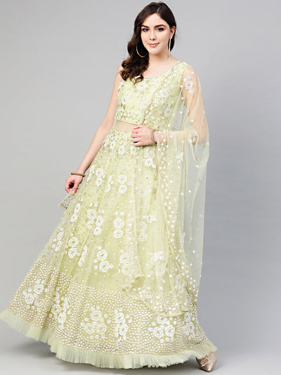 Chhabra 555 Green Cocktail Gown with Pearl Glitter embellishements, Ruffled hemline and cutwork dupatta
