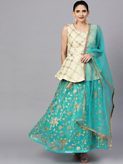 Chhabra 555 Made-to-measure Embroidered Lehanga With Gota Patti, mirror work and Peplum Top