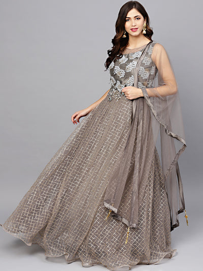 Chhabra 555 Made to Measure Grey Anarkali Cocktail Gown with Zari, Resham and Zircon Embroidery