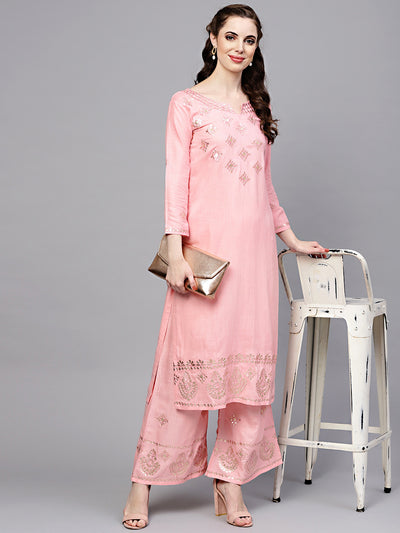Chhabra 555 Pink Green Made-to-Measure Kurta with Gotta Patti, Resham Embroidery and Palazzo