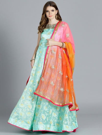 Chhabra 555 Teal Blue Tissue Foil Printed Kurta with floral motifs and contrast zari embroidered Orange Dupatta
