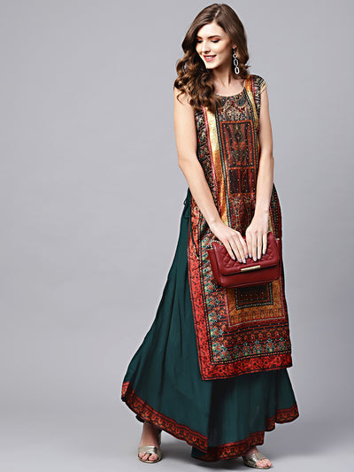 Chhabra 555 Green Cotton Layered Kurta Gown with Beads and stone Embellishments and tribal pattern