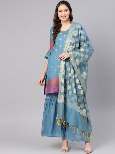Chhabra 555 Turquoise Banarasi Handloom Dress Material with Zari Resham Weaving and Tassled dupatta