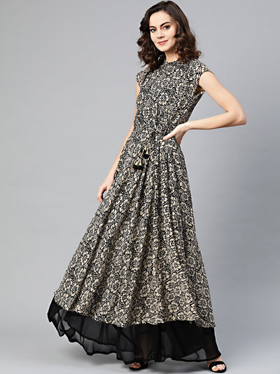 Chhabra 555 Beige Black Printed Kurta Dress with Crystal embellishments, layered hemline, tassled belt, and contemporary tropical print