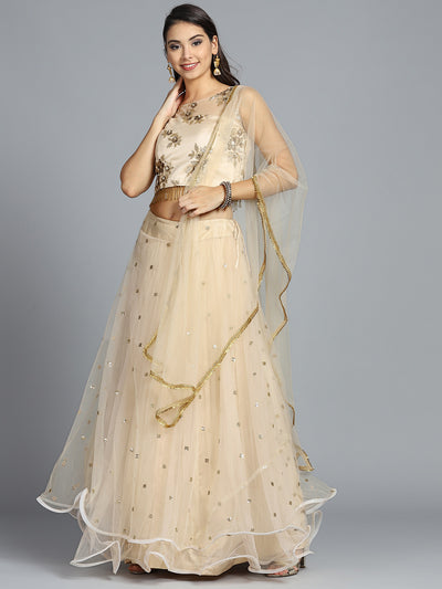 Chhabra 555 Made to Measure Beige Embellished Lehanga With heavy Choli zari and Resham Work With Dupatta