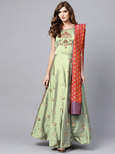 Chhabra 555 Made to Measure Green Embellished Anarkali Kurta Set with Resham embroidery and Ikat Print dupatta