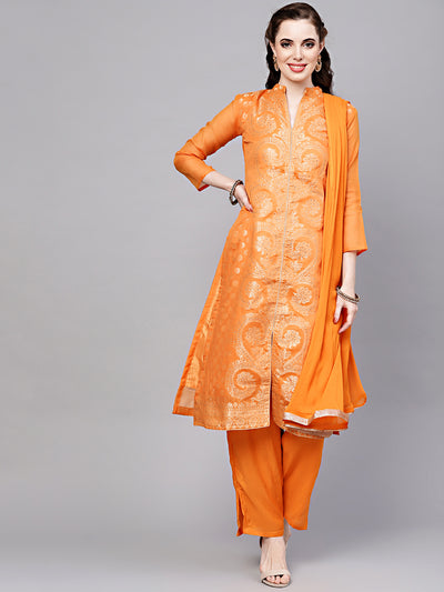 Chhabra 555 Mustard Made-to-Measure Embellished Kurta Set with Banarasi Handloom weaving
