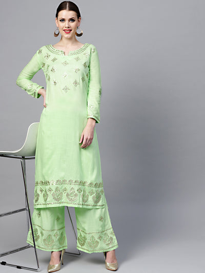 Chhabra 555 Lime Green Made-to-Measure Kurta with Gotta Patti, Resham Embroidery and Palazzo