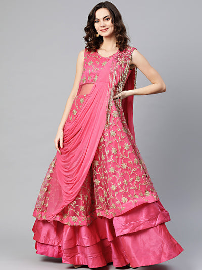 Chhabra 555 Made to Measure Layered Cocktail Gown with Aari, Zari embroidery, long tassle embellishments and Attached Ruffled dupatta