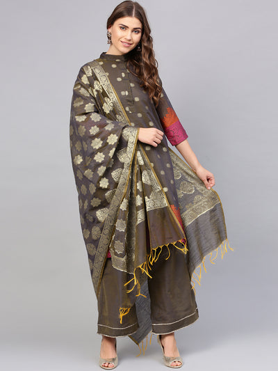 Chhabra 555 Taupe Banarasi Handloom Dress Material with Zari Resham Weaving and Tassled dupatta