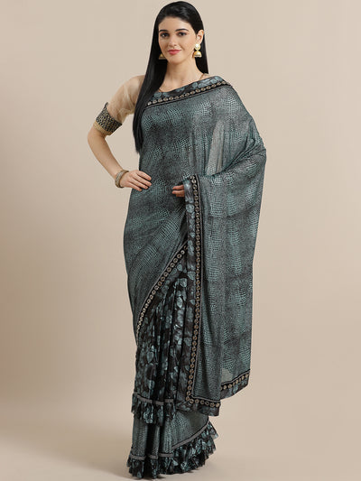 Chhabra 555 Ruffled French Crepe Embossed Saree with Frills and Oxidized Bead Work