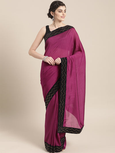 Chhabra 555 Raw Silk saree with Crystal and Stone Hand-Embellished Velvet Border