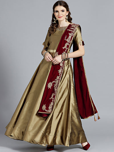 Chhabra 555 Gold Anarkali Crystal Embellished Kurta with rich maroon Velvet dupatta