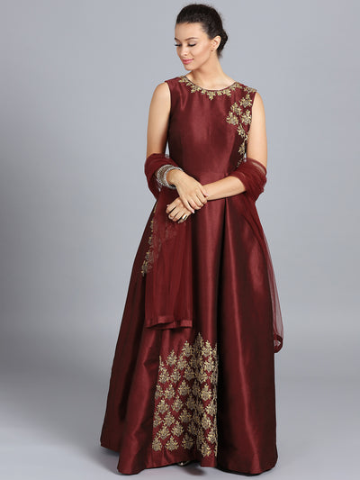 Chhabra 555 Maroon Raw Silk Zari Embroidered Stitched Gown With Net Dupatta