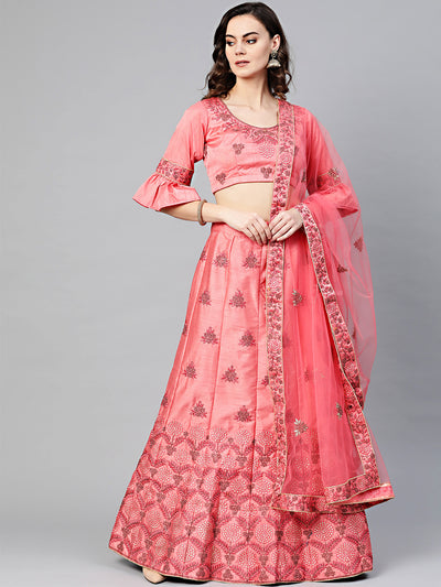 Chhabra 555 Peach Silk Unstitched Lehenga set with Zari, Resham embroidery in floral motifs