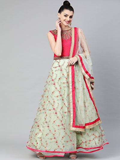 Chhabra 555 Made to Measure Pink and Mint Green Embroidered Anarkali Kurta Set. Resham and Zari Embroidered Kurta with Choker Style Kundan Embellished Yoke and with Sequin and Dori Embellished Dupatta