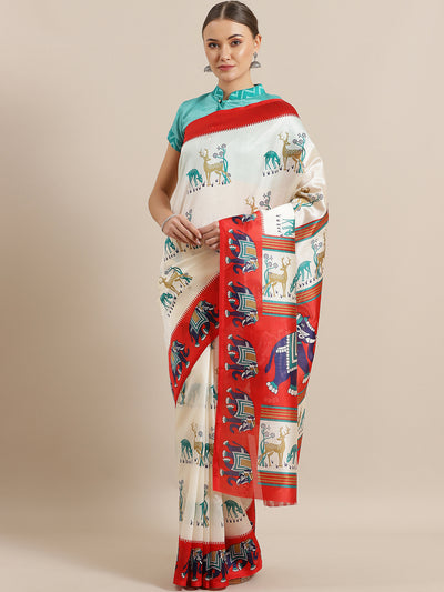 Chhabra 555 White Bhagalpuri Silk Saree with Ethnic Digital Pattern and Contrast Red Printed Blouse