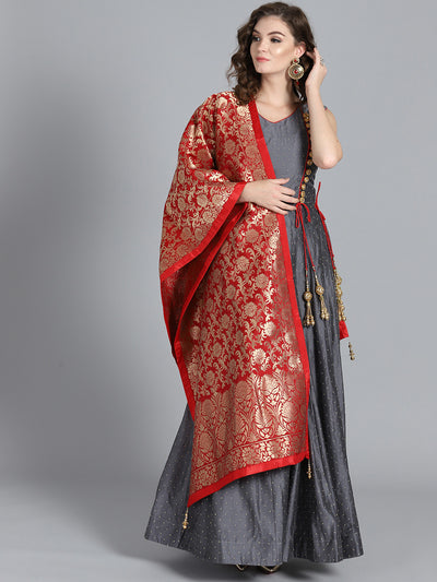 Chhabra 555 Dark Grey & Red Banarasi Silk Beads Work Embellished Stitched Anarkali Kurta Set With Heavy Banarasi Dupatta