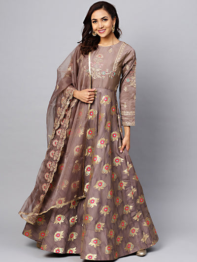Chhabra 555 Made-to-Measure Grey Embellished Gown with Banarasi weaving and Zari Embroidered Dupatta