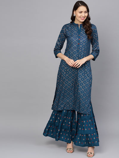 Chhabra 555 Made to Measure Blue Foil Print Kurta Set With Mirror embellishments and flared sharara