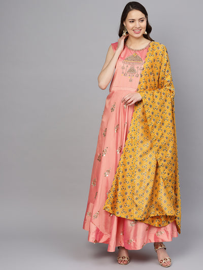 Chhabra 555 Made to Measure Pink Embellished Anarkali Kurta Set with Ikat Print dupatta