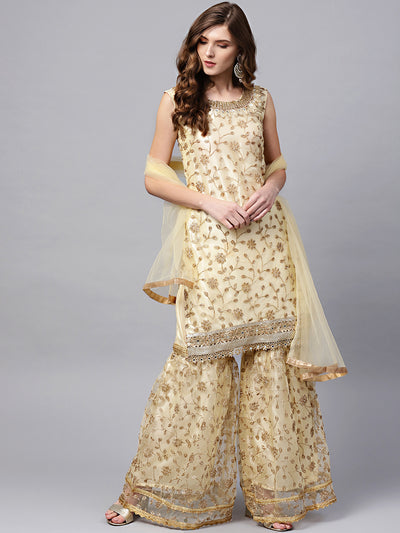 Chhabra 555 Made to Measure Cream Zari Embroidered Kurta Sharara Set with Pearl and Mirror Embellishments