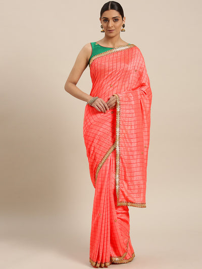 Chhabra 555 Crepe Checked Saree with Gharchola Weaving, Multicolor border and Crystal embellishments