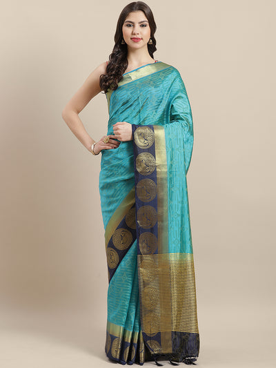 Chhabra 555 Banarasi Jamdani inspired saree with Zari broad contrast Peacock border