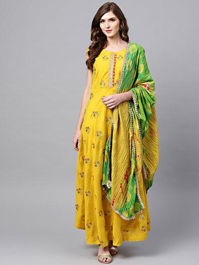 Chhabra 555 Made to Measure Yellow Green Anarkali Embroidered Suit with Bandhej dupatta