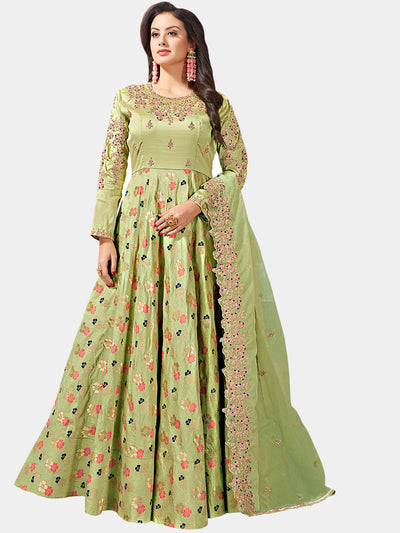 Chhabra 555 Made-to-Measure Green Embellished Gown with Banarasi weaving and Zari Embroidered Dupatta