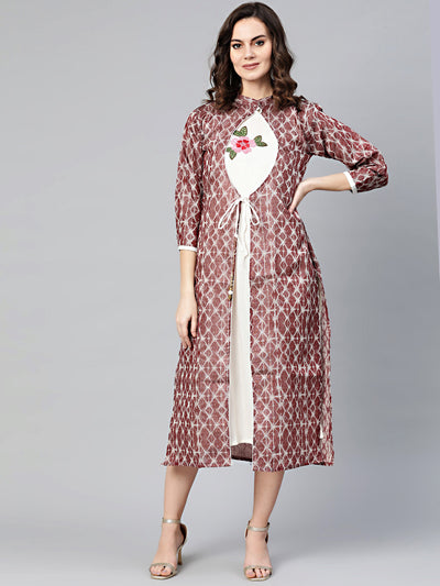 Chhabra 555 Made to Measure Printed Angrakha Jacket style kurta dress with embroidered inner