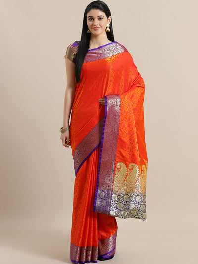 Chhabra 555 Orange Jamdani Banarasi Silk Saree with Paisley Golden Zari Pallu with Contrast Blouse
