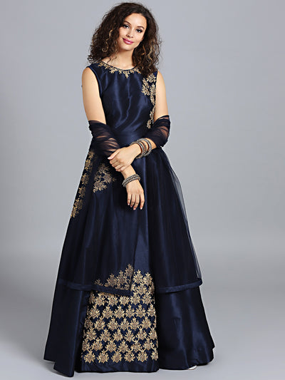 Chhabra 555 Navy Blue Raw Silk Zari Embroidered Stitched Gown With Net Dupatta