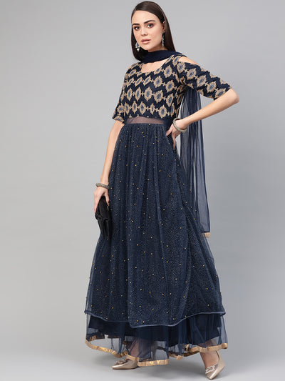 Chhabra 555 Made-to-Measure Cocktail Gown with Zari embroidery, shimmer floral foil print, pearl embellishments and dupatta