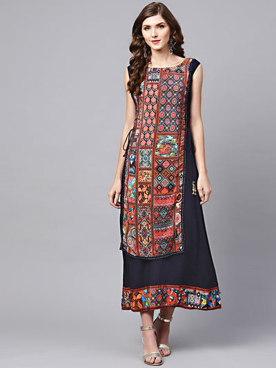 Chhabra 555 Blue Rayon Layered Kurta Gown with Beads and stone Embellishments and tribal pattern