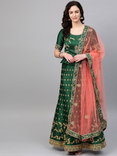Chhabra 555 Green Peach Silk Semi-stitched Lehenga set with Intricate zari embroidery in floral motifs