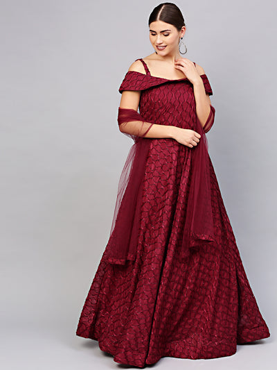 Chhabra 555 Made to Measure Floor length Maroon Cocktail Gown with off shoulder sleeves and textured lycra fabric and dupatta