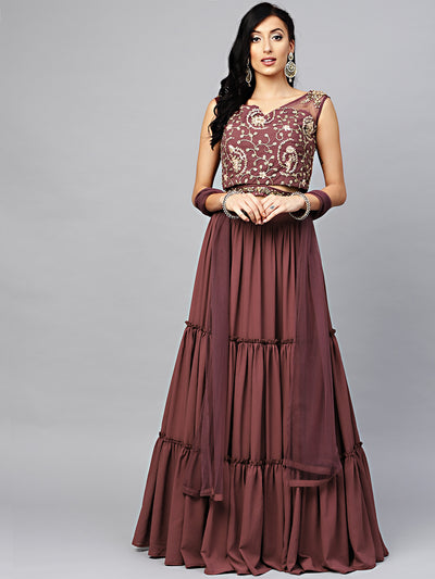 Chhabra 555 Made-to-Measure Burgundy Embroidered Croptop with Layered Lehanga and attached belt