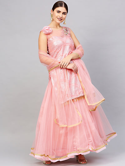 Chhabra 555 Made-to-Measure Pink Crop Top Lehenga Set with Sequin Embroidery and Zircon Embellishments