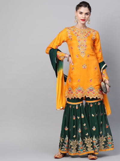 Chhabra 555 Made to Measure Embellished Kurta Sharara Set With Zari, Resham embroidery and scalloped hemline